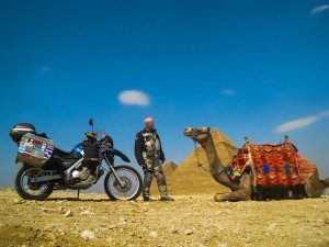 Motorcycle and camel